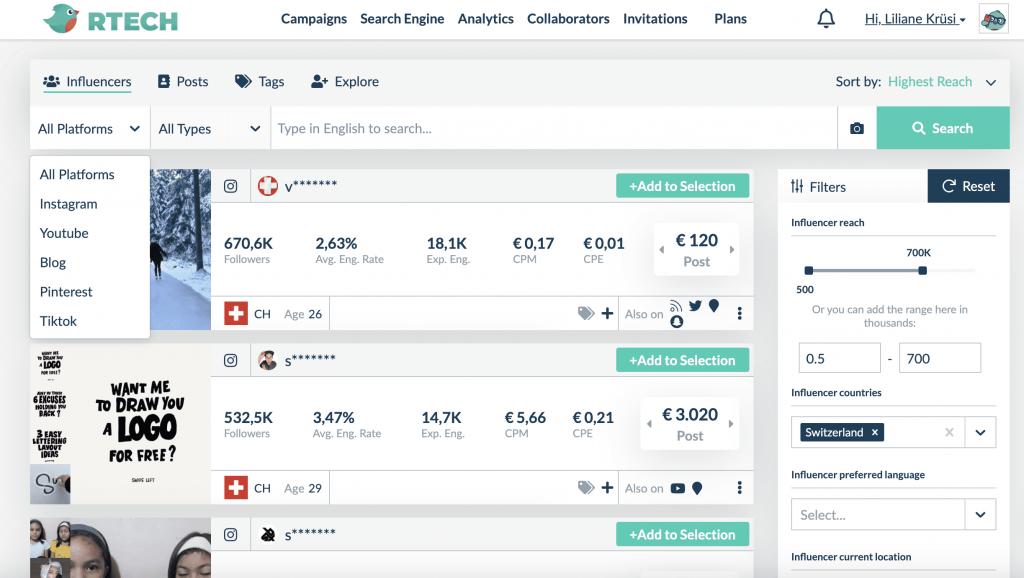 Reachbird Influencer Tool - find Influencers easily